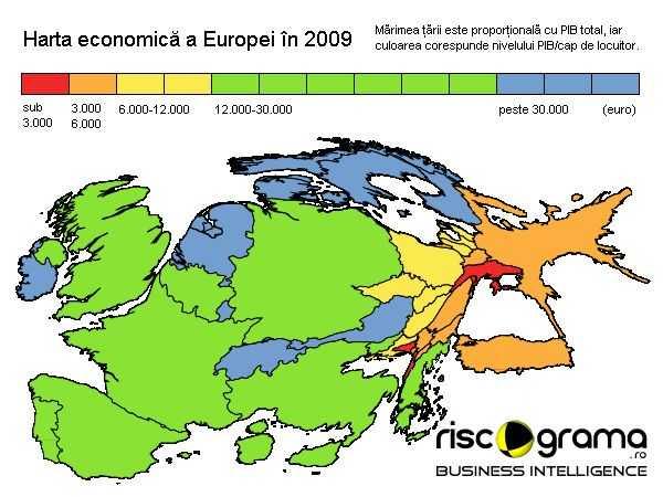 Cum Arata Harta Economica A Europei In Functie De Marimea Pib