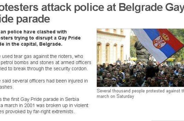 [VIDEO] Zeci de raniti la Belgrad, pe fondul desfasurarii Gay Pride