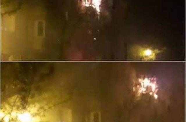 [VIDEO] Un apartament a fost cuprins de flacari in sectorul doi al Capitalei