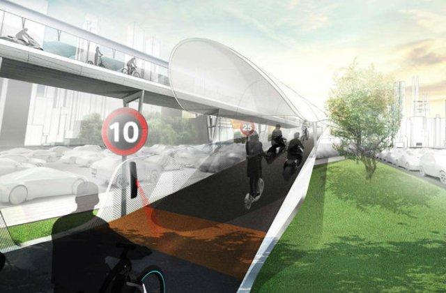 Solutia BMW la problema traficului: drumuri suspendate doar pentru biciclete electrice