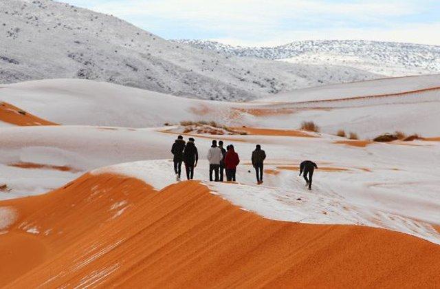 Desertul Sahara este cuprins de ninsoare pentru al treilea an la rand