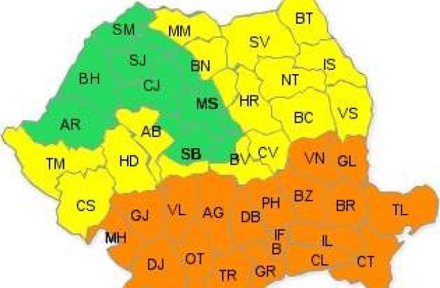Cod portocaliu de ninsori si viscol in zonele din S si S-E tarii
