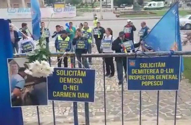 Protest al sindicalistilor din cadrul Politiei de Frontiera: Ne-am saturat sa fim aratati cu degetul/ VIDEO