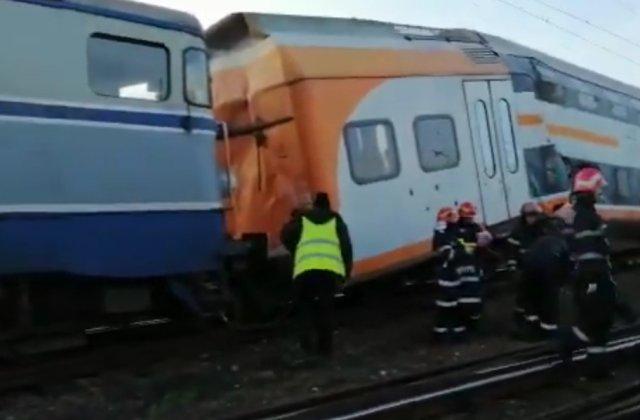Accident feroviar: Doua trenuri s-au ciocnit frontal, intre Ploiesti si Brazi/ VIDEO