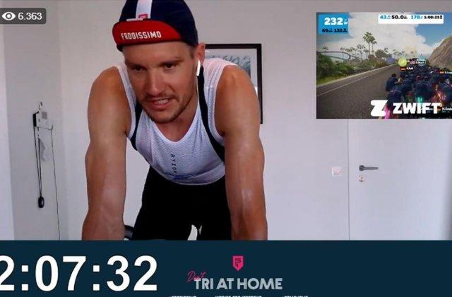 Un campion olimpic a strâns 200 de mii de euro pentru spitale! A făcut triatlon în curte și în casă