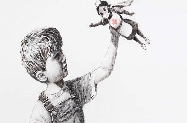 Graffiti emoționant realizat de Banksy în cinstea medicilor supereroi