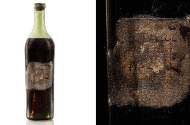 O sticlă de coniac din 1762 a fost vândută la licitație pentru o sumă record