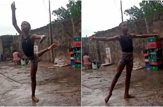 VIDEO Copilul african, pasionat de balet, face înconjurul lumii: dansează desculț în ploaie ca un profesionist