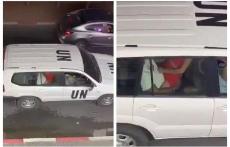 VIDEO Două persoane surprinse făcând sex într-o mașină oficială ONU