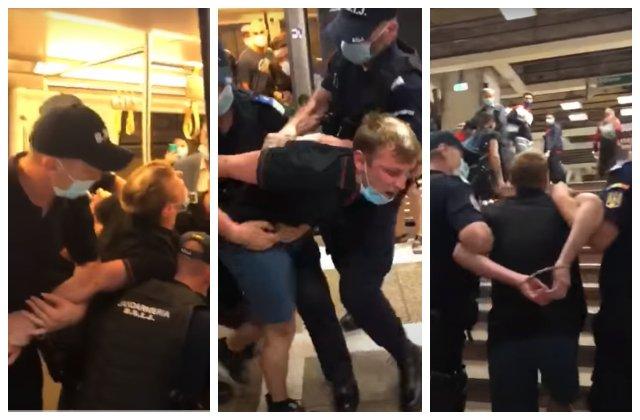 Scandal la metrou. Încătușat după ce a refuzat să poarte corect mască și a fugit de jandarmi