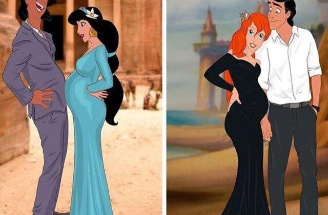 FOTO Cum ar fi arătat prințesele Disney dacă ar fi rămas însărcinate