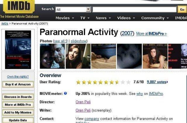 """""""Paranormal Activity"""", noul lider al incasarilor din SUA"""