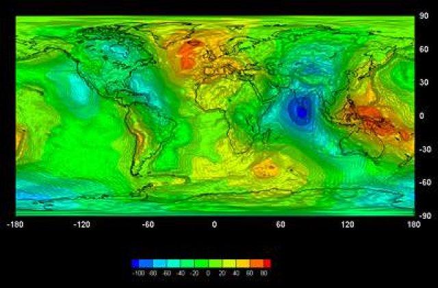 Gravitatia este diferita pe Glob