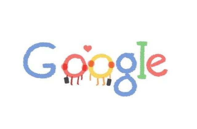 Google sarbatoreste Valentine`s Day printr-un logo special