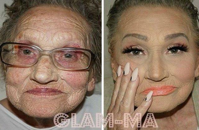 [FOTO] Bunica i-a cerut nepoatei sa o machieze. Uite cum arata la final. WOW!
